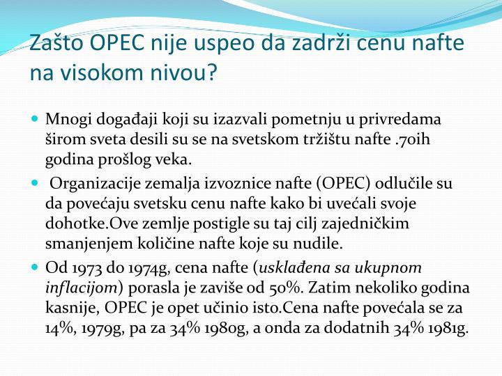 Zašto OPEC