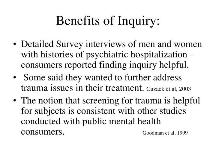 Benefits of Inquiry:
