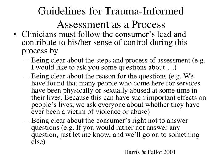 Guidelines for Trauma-Informed Assessment as a Process