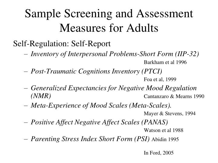 Sample Screening and Assessment Measures for Adults