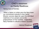 cno s statement on family readiness