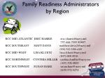 family readiness administrators by region