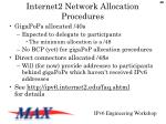 internet2 network allocation procedures