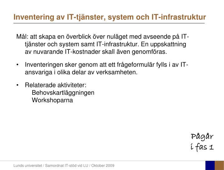 Inventering av IT-tjänster, system och IT-infrastruktur