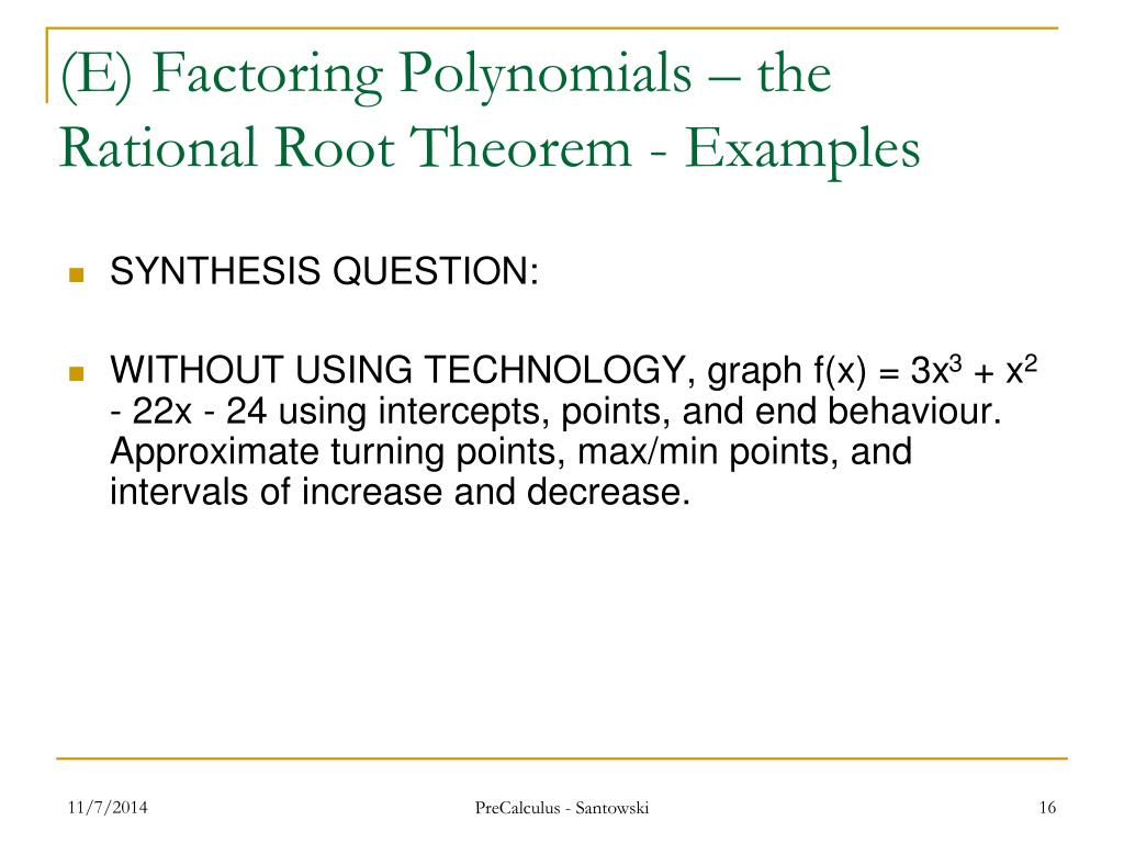 PPT - Lesson 12 – Factoring Polynomials PowerPoint Presentation - ID