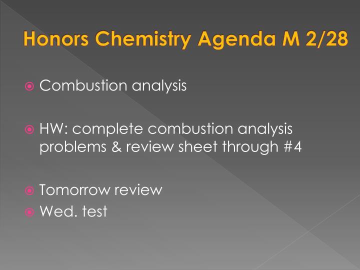 Honors Chemistry Agenda M 2/28