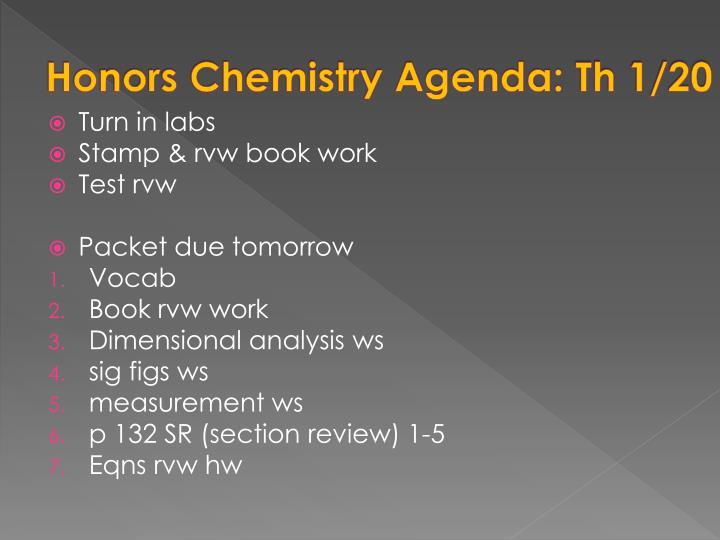 Honors Chemistry Agenda: