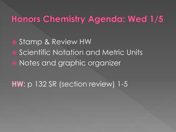 Honors Chemistry Agenda: Wed 1/5