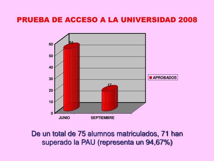 PRUEBA DE ACCESO A LA UNIVERSIDAD 2008
