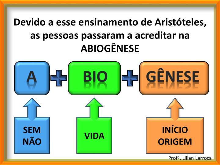 Devido a esse ensinamento de Aristóteles, as pessoas passaram a acreditar na ABIOGÊNESE