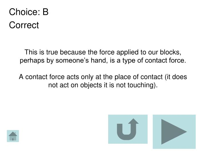 This is true because the force applied to our blocks, perhaps by someone's hand, is a type of contact force.