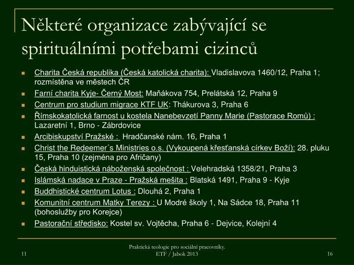 Některé organizace zabývající se spirituálními potřebami cizinců
