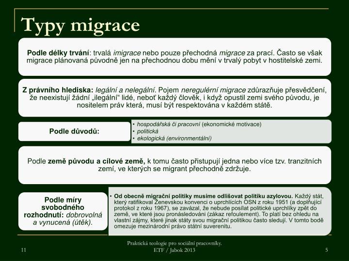 Typy migrace