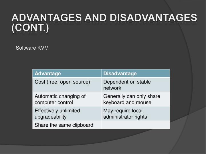 Advantages and disadvantages (cont.)