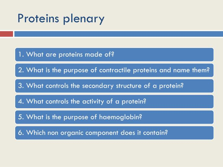 Proteins plenary