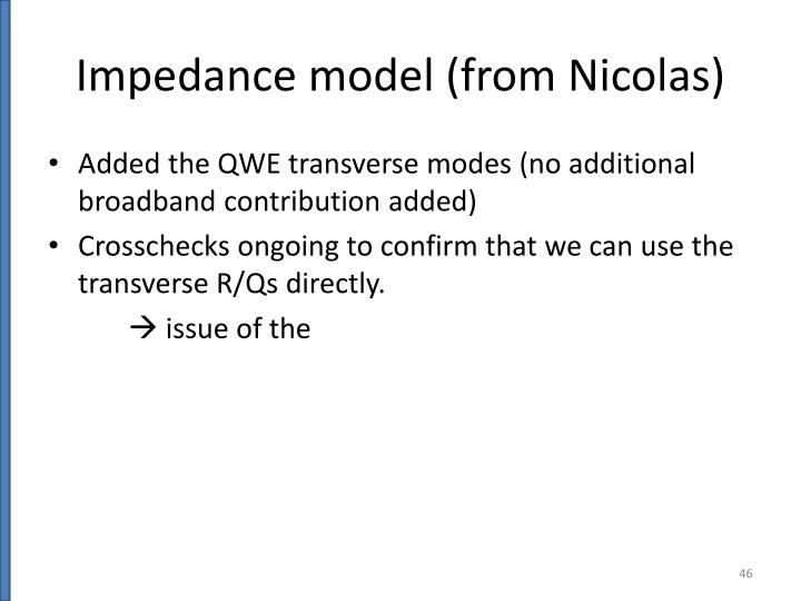 Impedance model (from Nicolas)