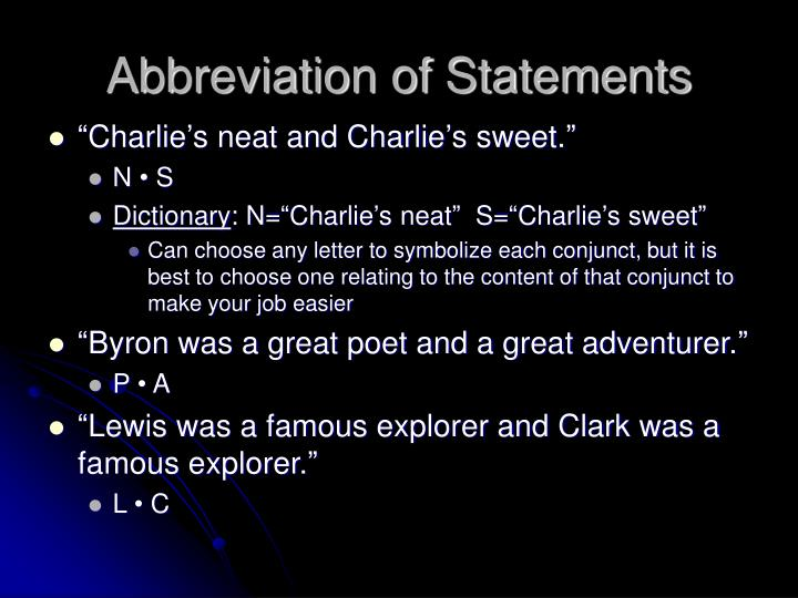 Abbreviation of Statements