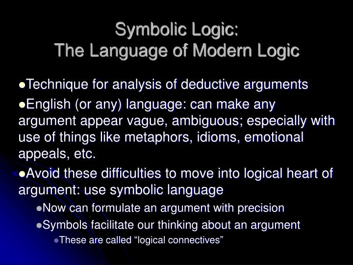 Symbolic Logic: