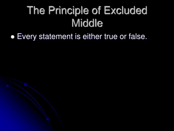 The Principle of Excluded Middle