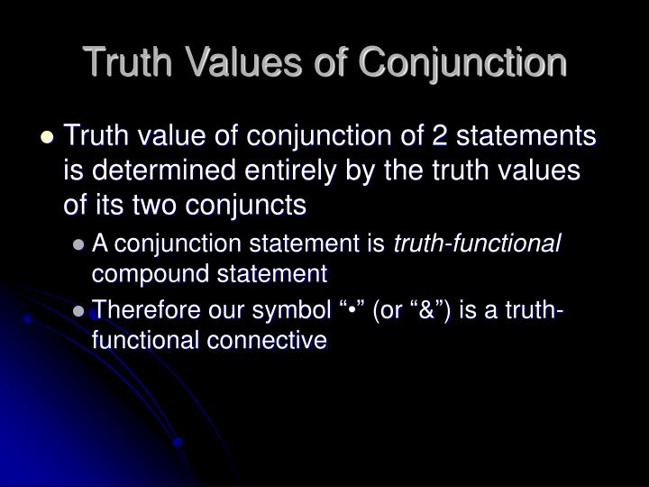 Truth Values of Conjunction