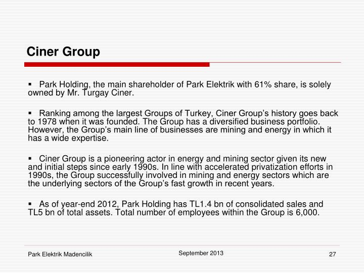 Park Holding, the main shareholder of Park Elektrik with 61% share, is solely owned by Mr. Turgay Ciner.
