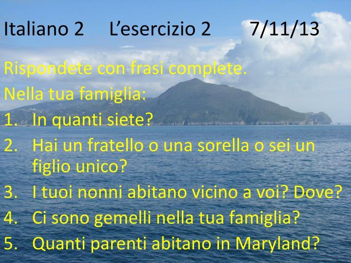 Italiano 2 l esercizio 2 7 11 13
