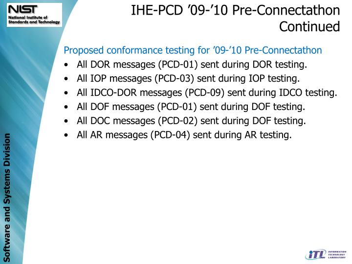 IHE-PCD '09-'10 Pre-