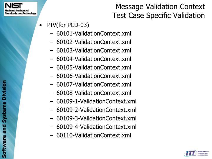 Message Validation Context