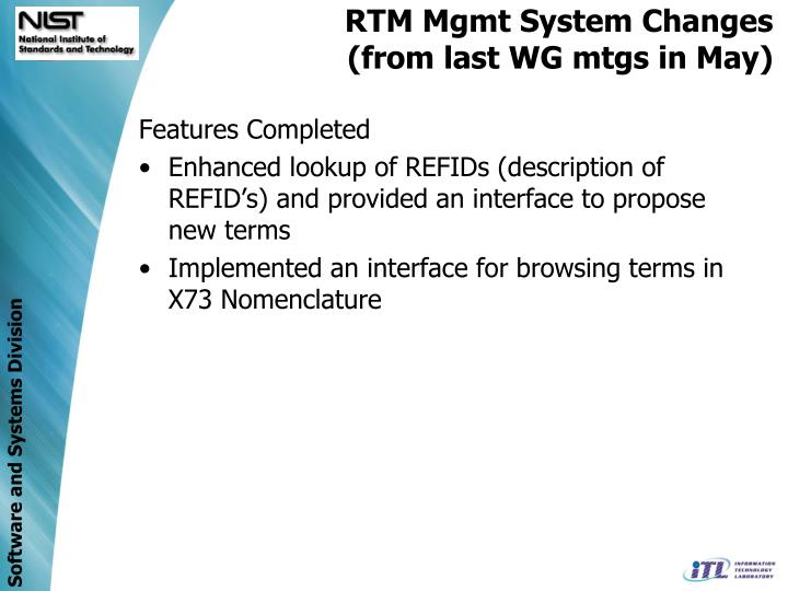 RTM Mgmt System Changes