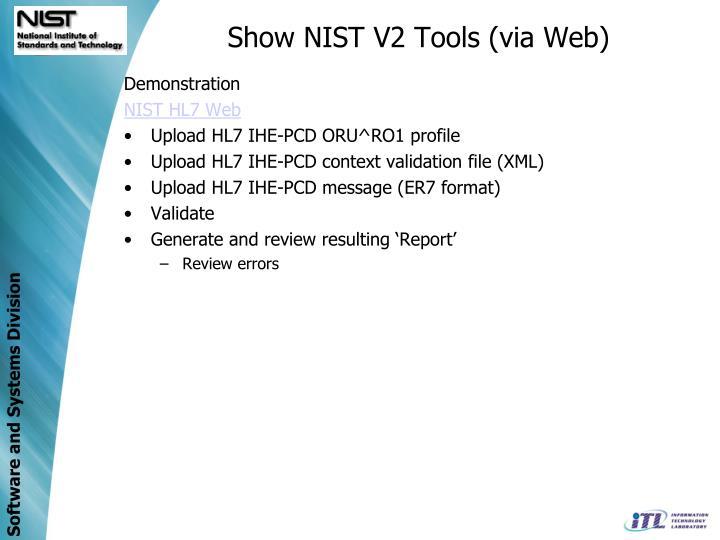 Show NIST V2 Tools (via Web)
