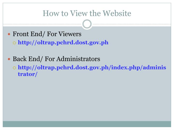 How to View the Website