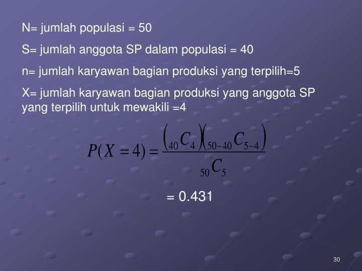 N= jumlah populasi = 50