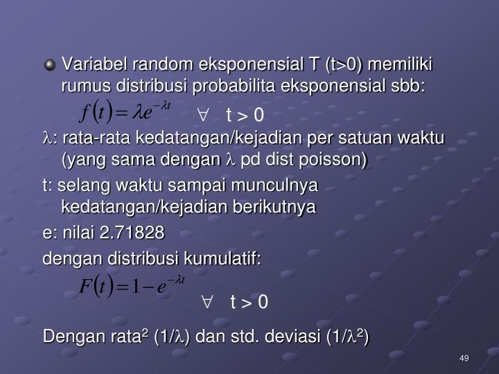 Variabel random eksponensial T (t>0) memiliki rumus distribusi probabilita eksponensial sbb: