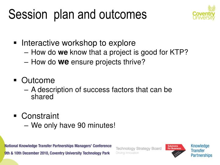 Session  plan and outcomes