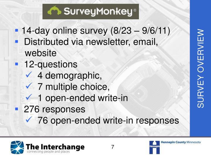 14-day online survey (8/23 – 9/6/11)