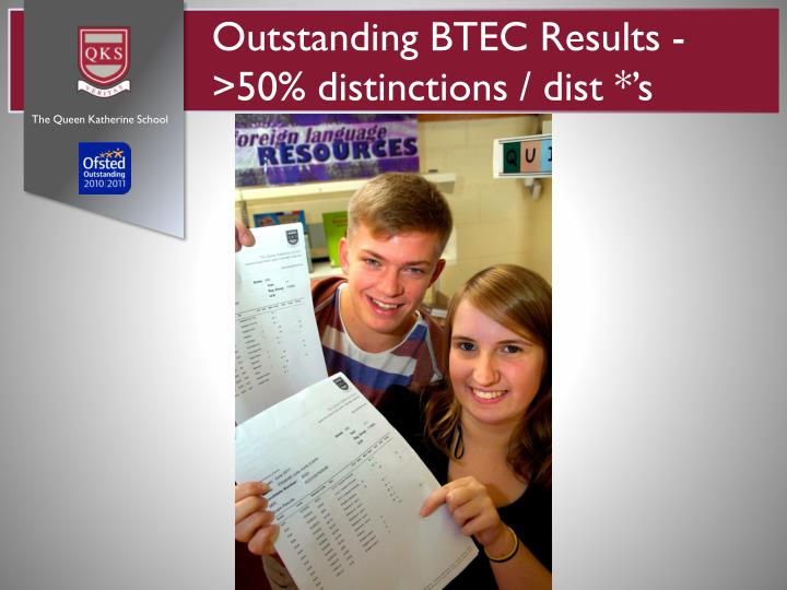 Outstanding BTEC Results - >50% distinctions /
