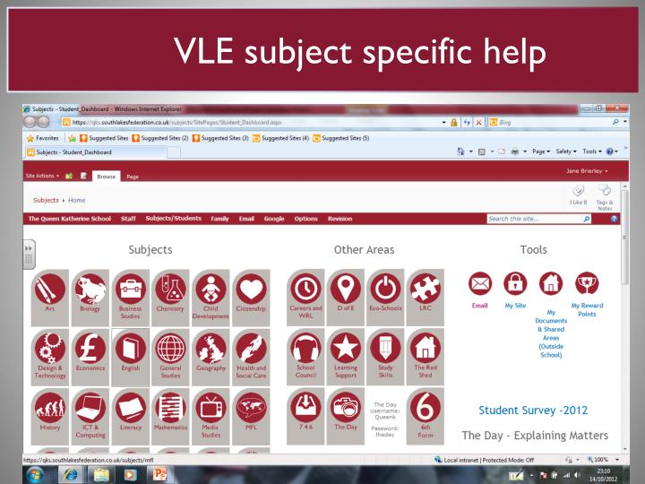 VLE subject specific help