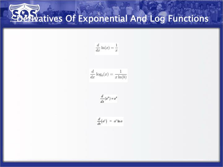 Derivatives Of Exponential And Log Functions