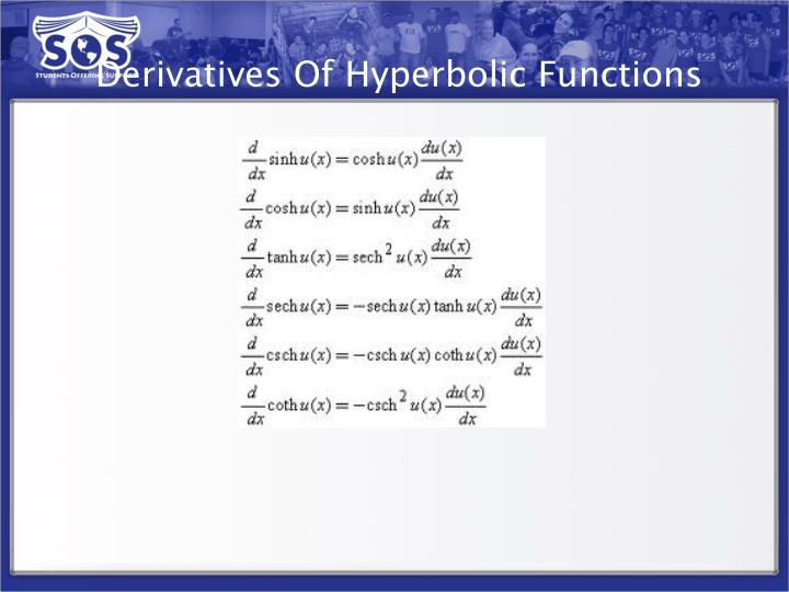 Derivatives Of Hyperbolic Functions