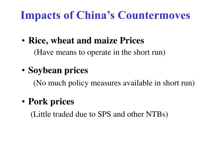 Impacts of China's Countermoves