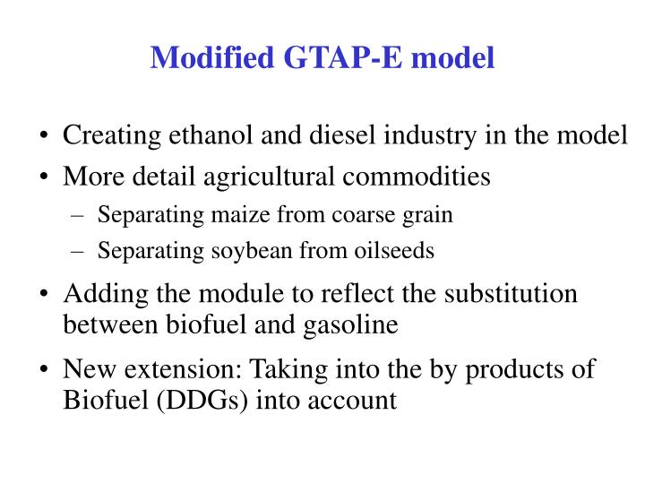 Modified GTAP-E model