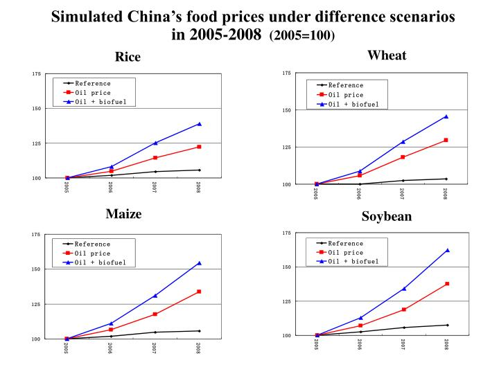Simulated China's food prices under difference scenarios in 2005-2008