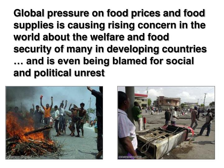 Global pressure on food prices and food supplies is causing rising concern in the world about the welfare and food security of many in developing countries … and is even being blamed for social and political unrest