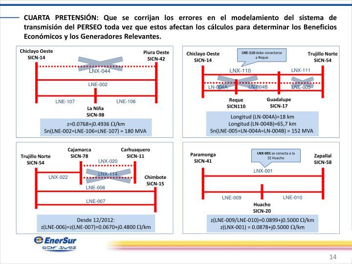 CUARTA PRETENSIÓN: Que se corrijan los errores en el modelamiento del sistema de transmisión del PERSEO toda vez que estos afectan los cálculos para determinar los Beneficios Económicos y los Generadores Relevantes.