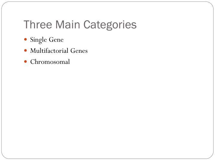 Three Main Categories