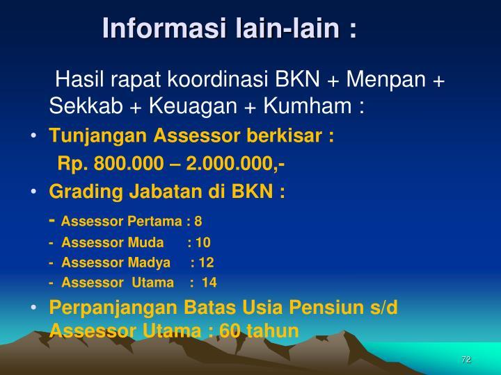 Informasi lain-lain :