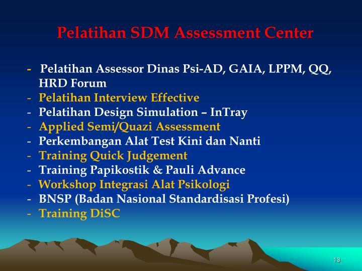 Pelatihan SDM Assessment Center