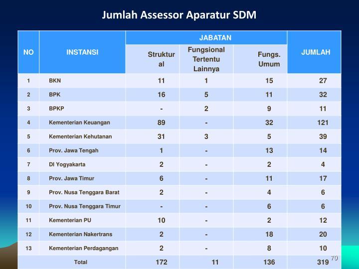 Jumlah Assessor Aparatur SDM