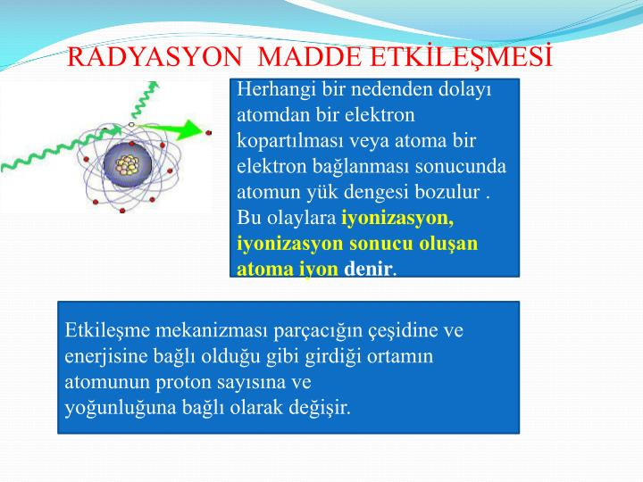 RADYASYON  MADDE ETKİLEŞMESİ