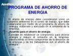 programa de ahorro de energia